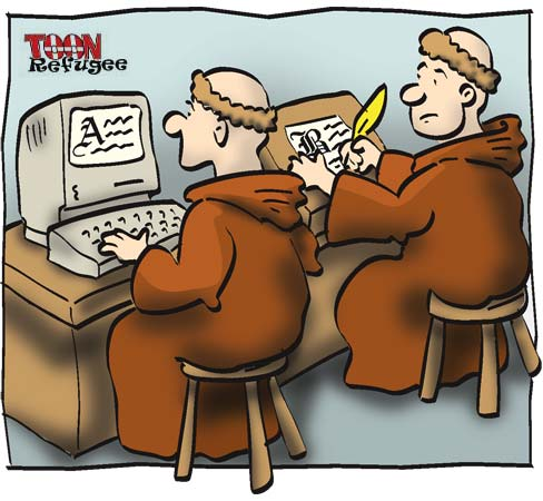 Monks on computers