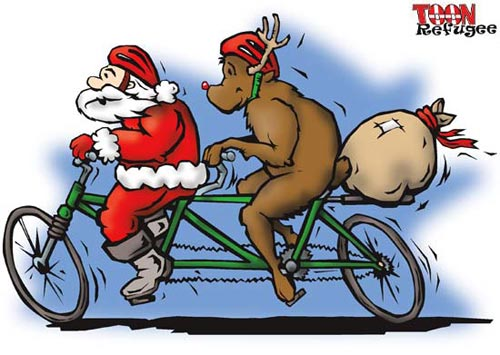 Santa and Rudolph on a bike