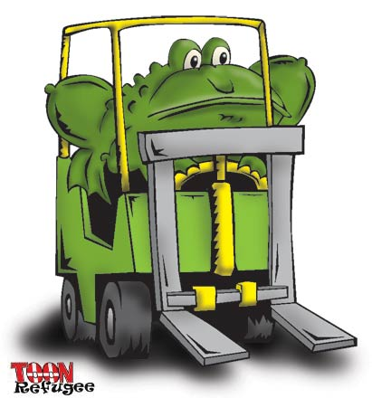 Toad on a Fork Lift