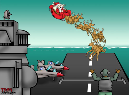 Santa practicing aircraft carrier landings